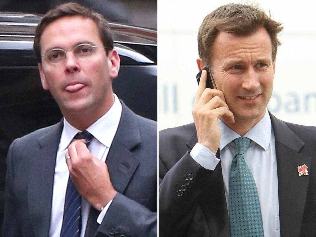 Left: James Murdoch arrives at the High Court in London to give evidence to the Leveson Inquiry. Right, the Culture Secretary Jeremy Hunt