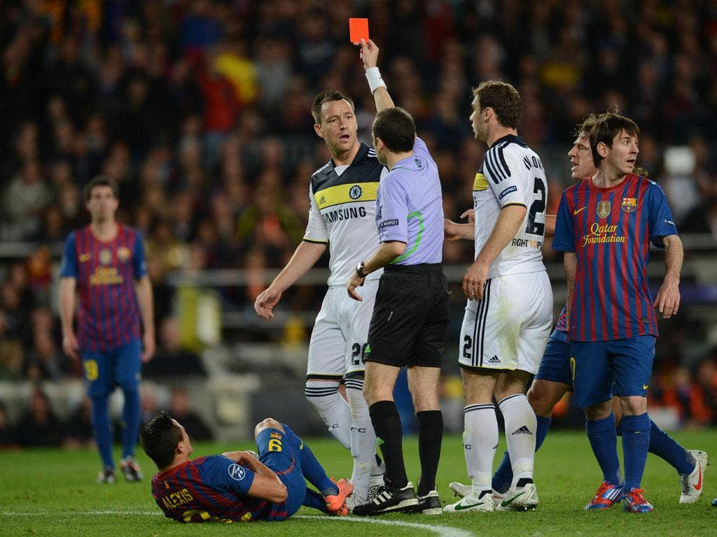 <p><strong>John Terry</strong> Shown the red card for kneeing Sanchez in the back and while the contact was soft, the referee had no option. 2</p>