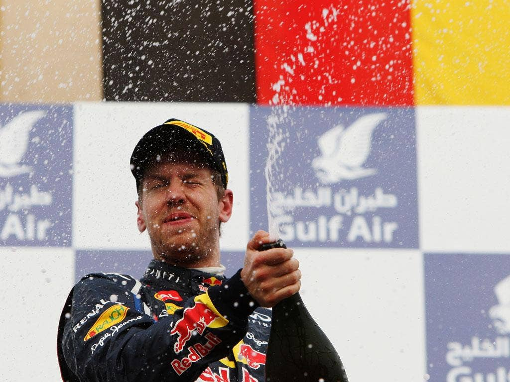 Sebastian Vettel celebrates victory at the Bahrain Grand Prix