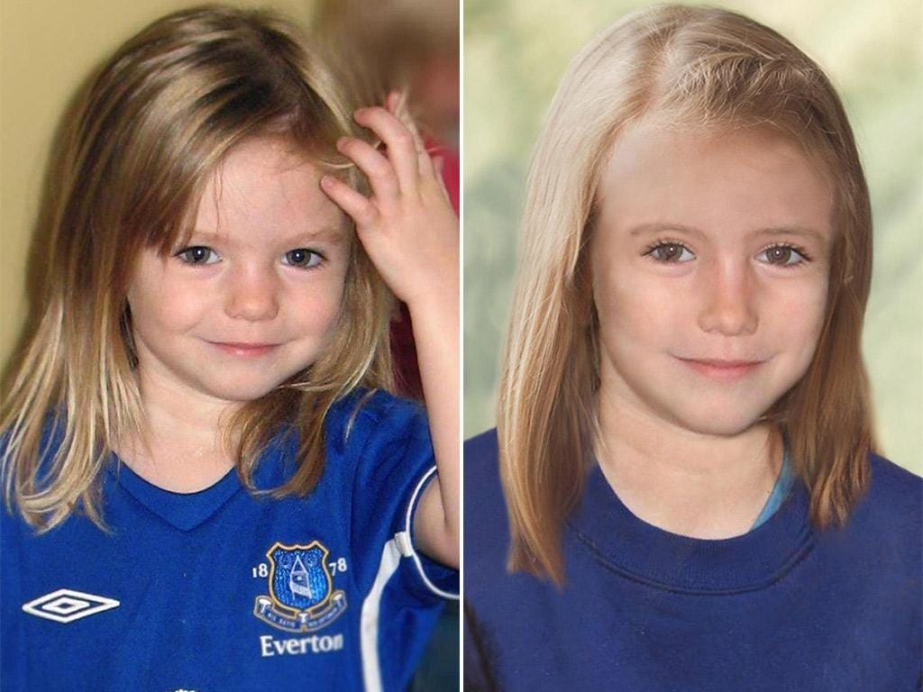 Madeleine McCann pictured at the age of three, left, and as she might have looked aged nine