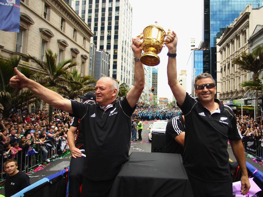 Wayne Smith (right) celebrates New Zealand's World Cup victory
