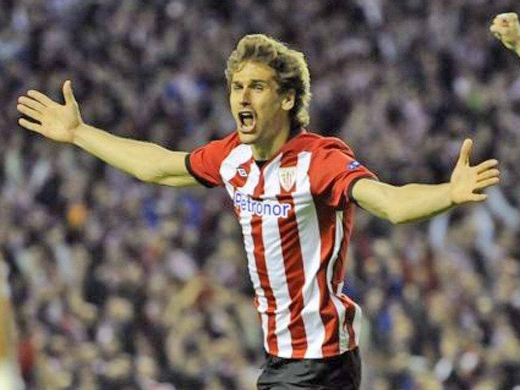 Athletic Bilbao's Fernando Llorente celebrates after he scored against SCP Sporting during their Europa League yesterday