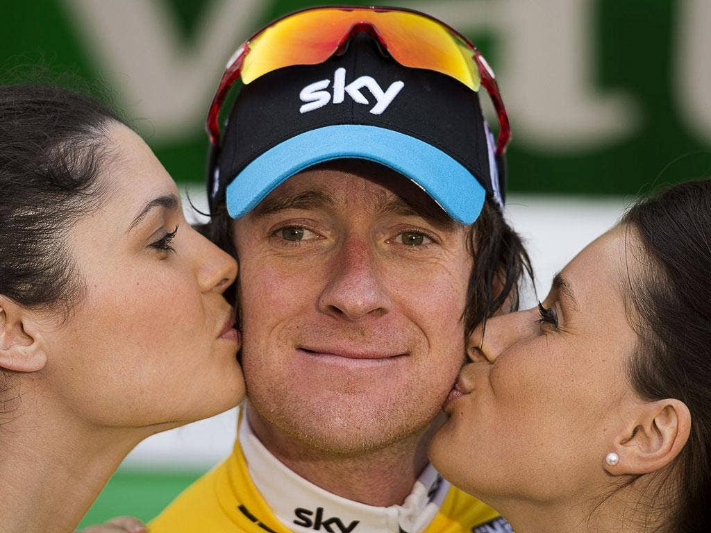 """Bradley Wiggins: """"Aha, the cure for a cyclist's two sore cheeks."""" (27/04/12) <br/><br/> <a href=""""http://www.independent.co.uk/captions"""" target=""""new"""">To enter the current caption competition, click here.</a>"""
