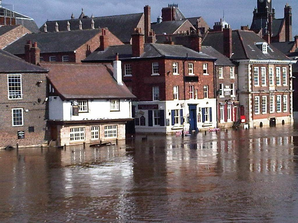 King's Staith in York centre flooded by the Ouse