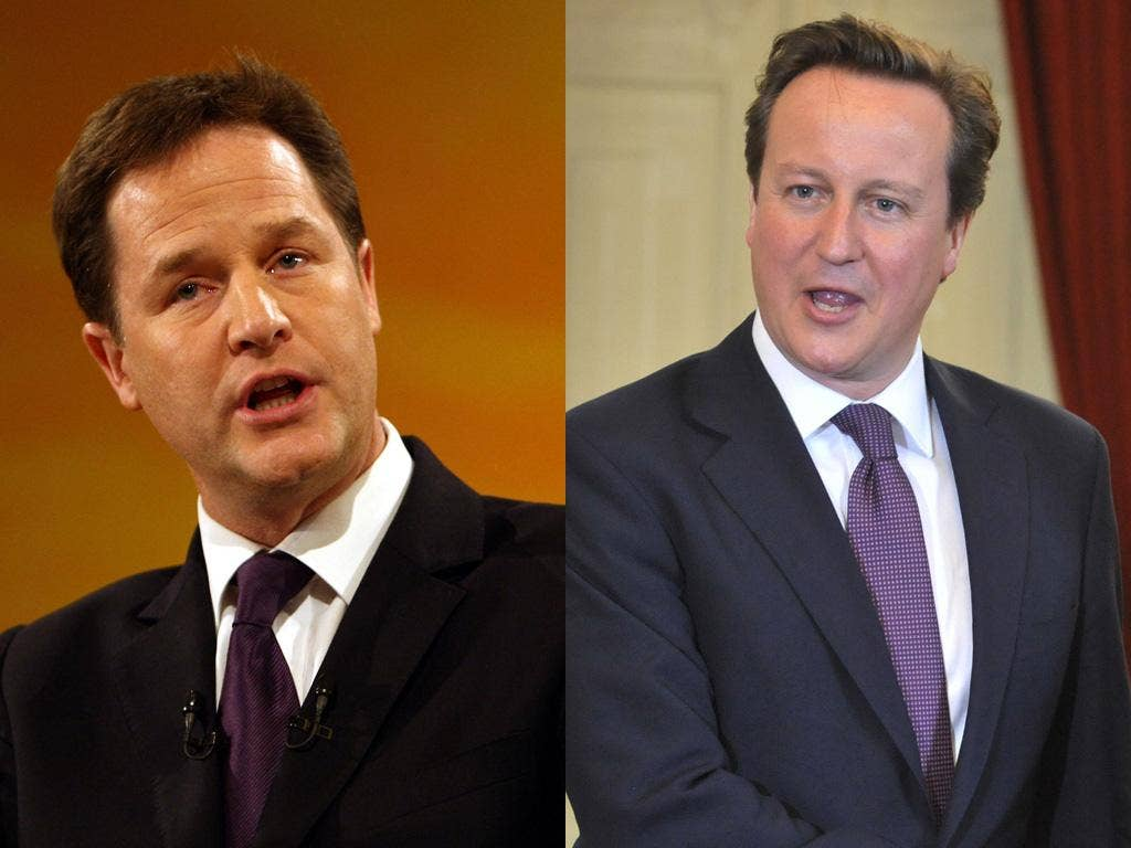 Deputy Prime Minister Nick Clegg contradicted David Cameron on cosying up to Murdoch