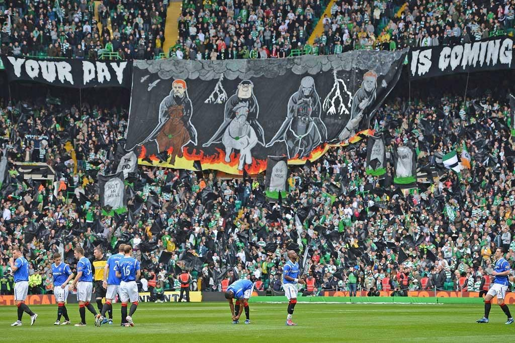 Celtic fans take delight in Rangers' plight with their own version of the four horsemen of the apocalypse