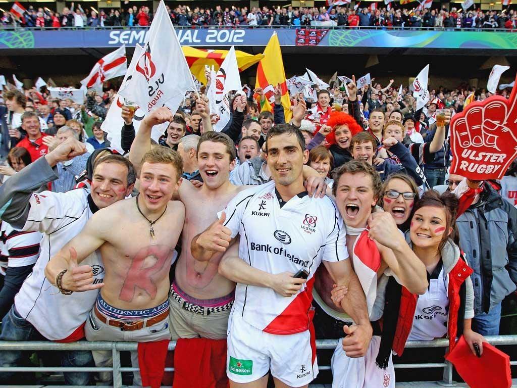 Ruan Pienaar joins the fans after Ulster's semi-final victory