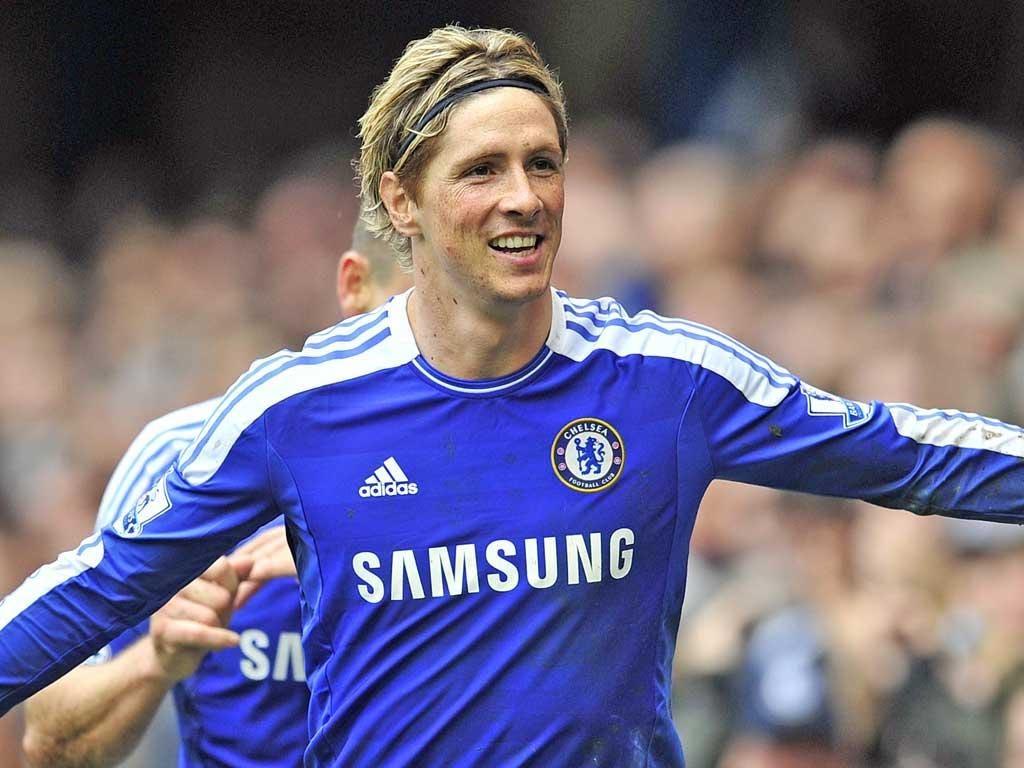 Fernando Torres celebrates his hat-trick