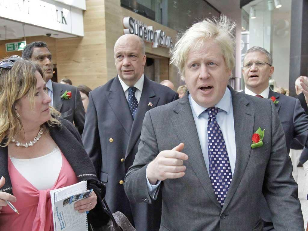 London mayoral candidate Boris Johnson on the campaign trail