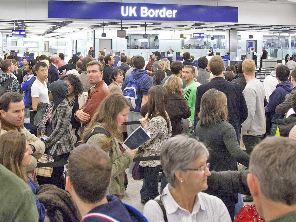 Growing border this: the passport checking border control area of Heathrow's Terminal 5