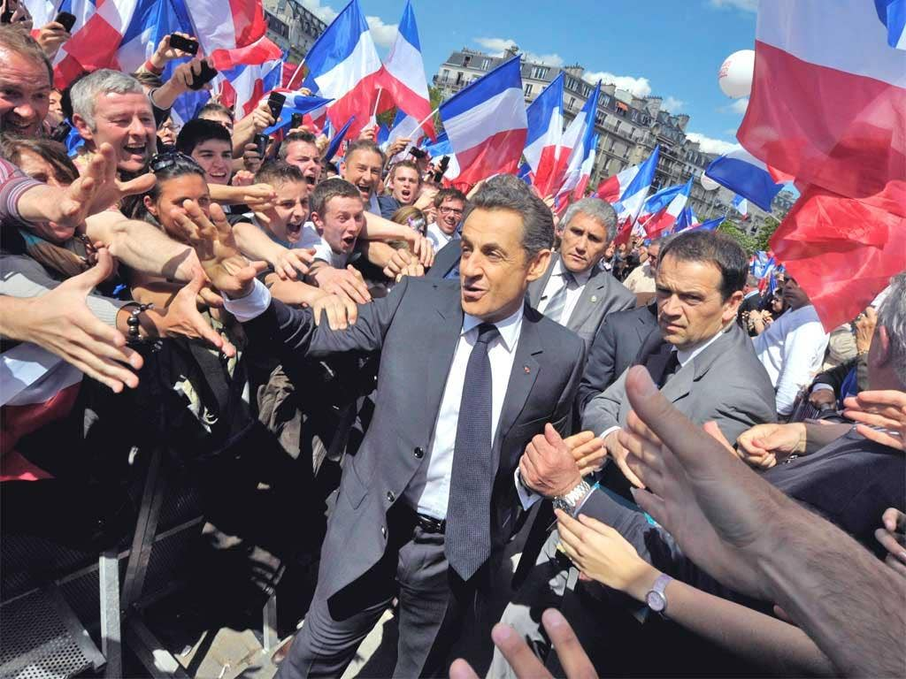 More than 100,000 supporters of Nicolas Sarkozy attended a rally for the French President at the Trocadero square in Paris yesterday