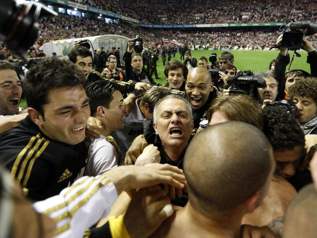 Mourinho joins in the celebrations