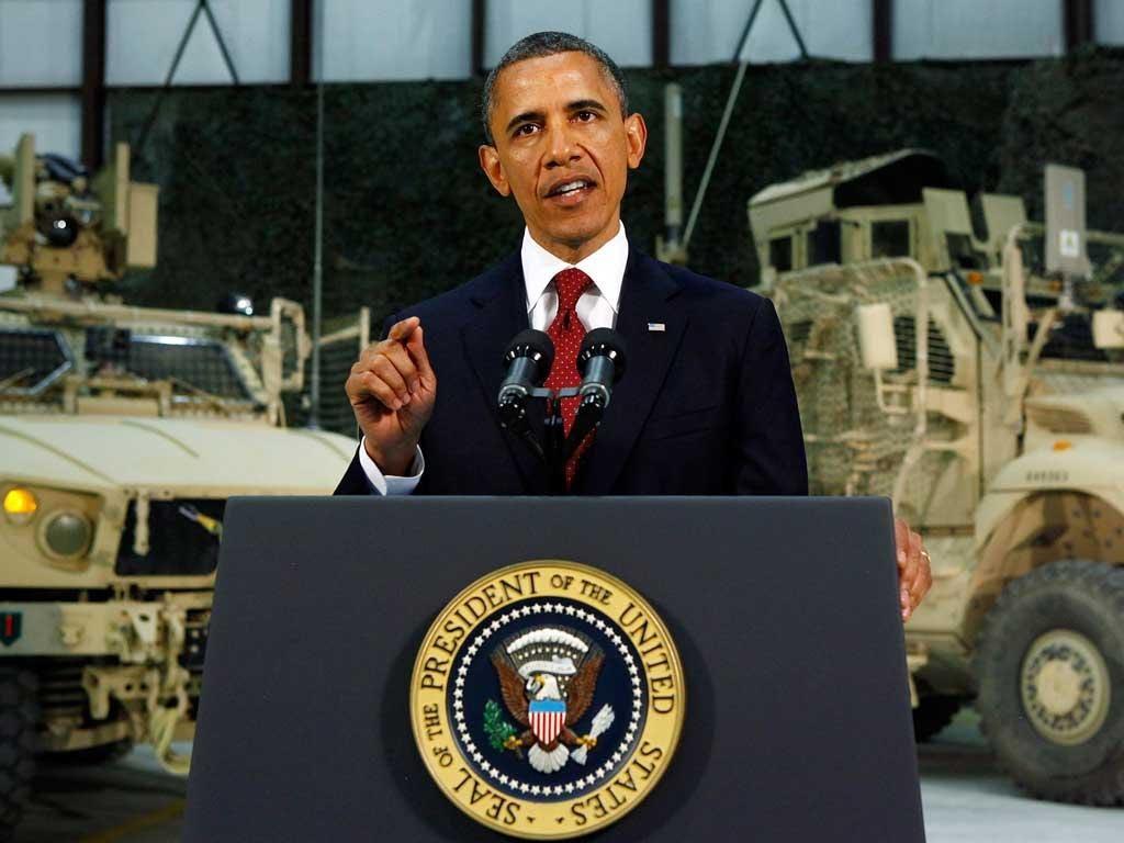 Barack Obama in Afghanistan last week