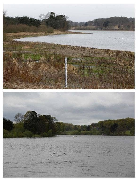 Cropston Reservoir, in Cropston central England on February 20, 2012 (top) and May 10, 2012.