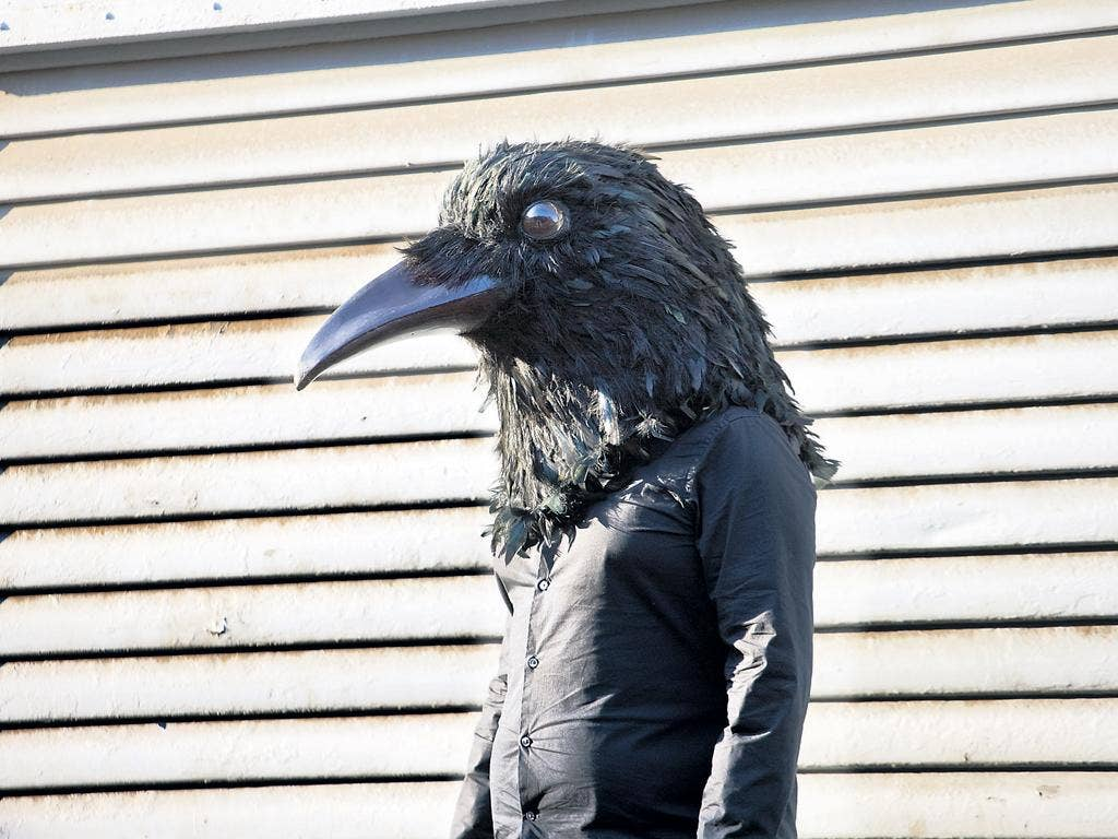 A puppetry prop for the new show of Ted Hughes's dark poetry collection Crow, in Greenwich