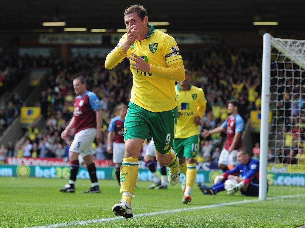 Norwich captain Grant Holt scored a hat-trick for his side, his 17th of the season