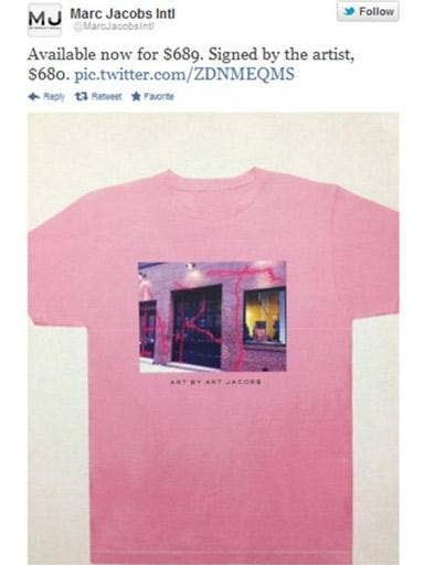 Marc Jacobs's tweet, showing off the new t-shirt and its ridiculous price tag