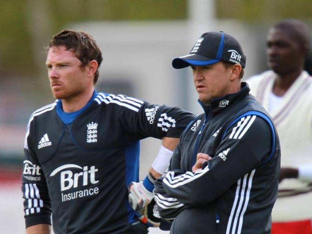 Ian Bell and Andy Flower during the nets session