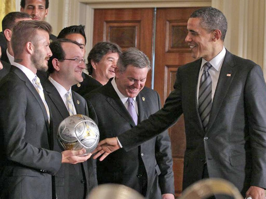 Take one for the team: David Beckham's good-natured reaction to Obama's teasing
