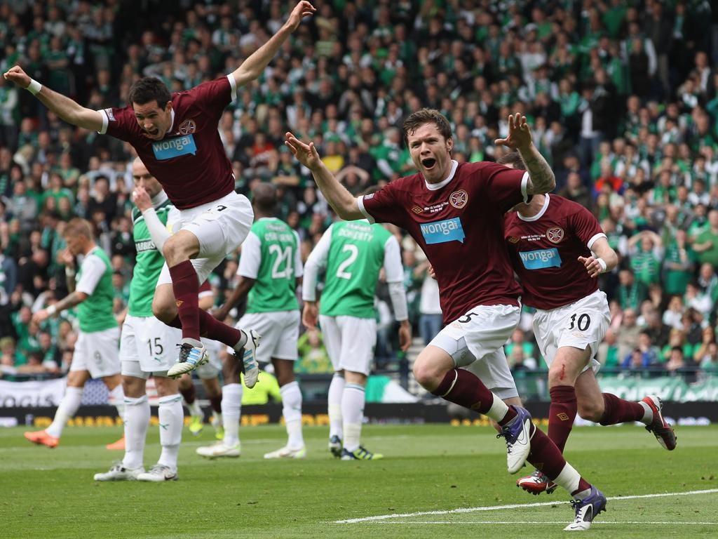 Hearts' Darren Barr celebrates his goal