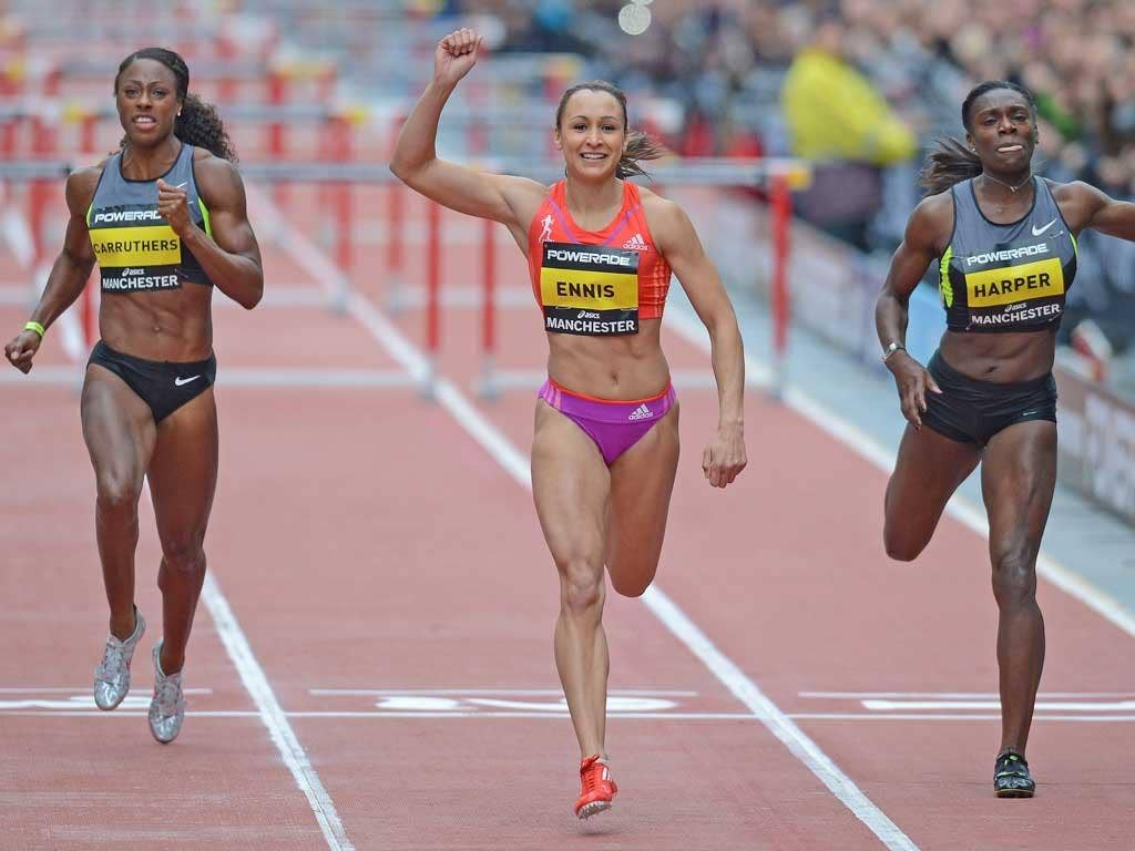Jessica Ennis celebrates on the line, but her delight was to be short-lived