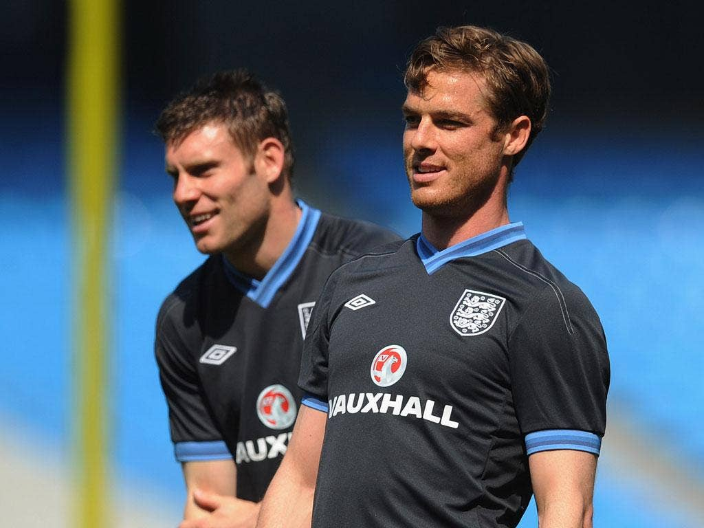 James Milner and Scott Parker in training today