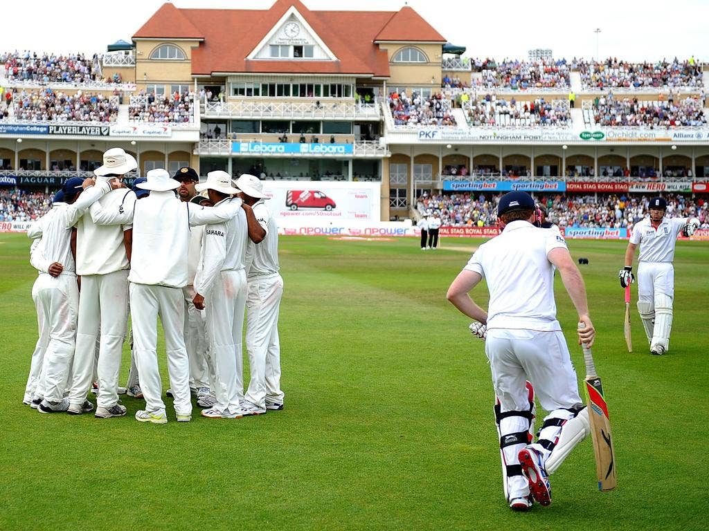 Ian Bell emerges from the Trent Bridge dressing room after being reinstated against India last year