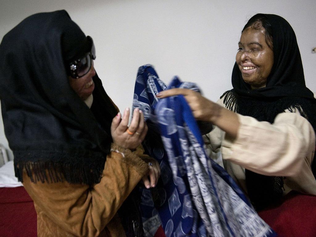 Acid attack victims Naziran Bibi and Naila Farhat
