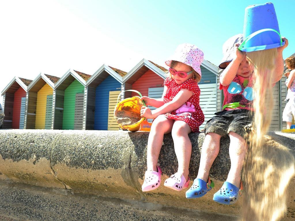 Children on the beach in Blyth, Northumberland