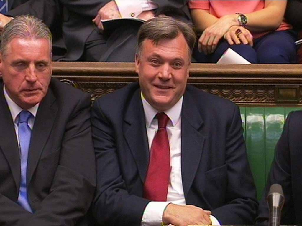 Victory: Ed Balls forces the smirking Tory leader to lose his cool