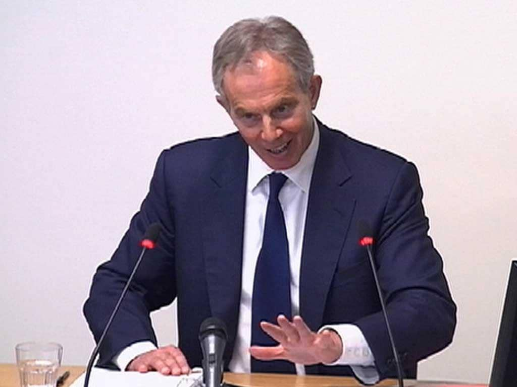 Tony Blair giving evidence at the Leveson Inquiry