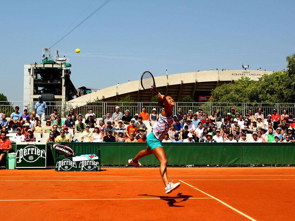Heather Watson in action at the French Open