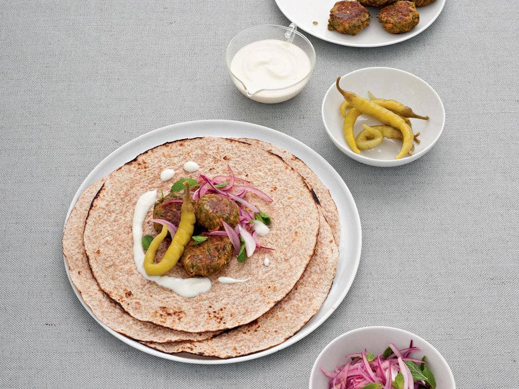 Carrot falafel with sesame sauce by Jane Hornby