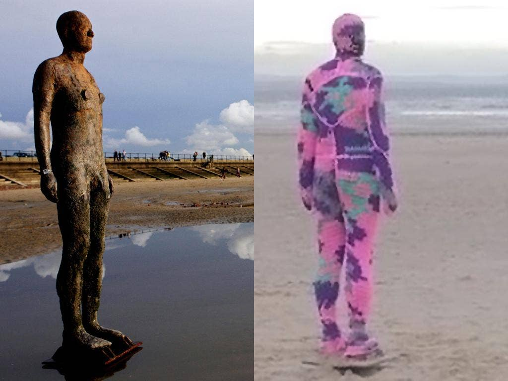 Two of Antony Gormley's naked iron men sculptures received unexpected protection this week from an artist armed with wool and knitting needles