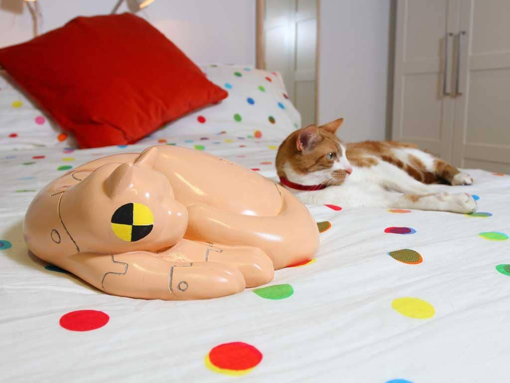 Sleeping partners: Ikea's 'crash test moggy' and live prototype crowd out the humans