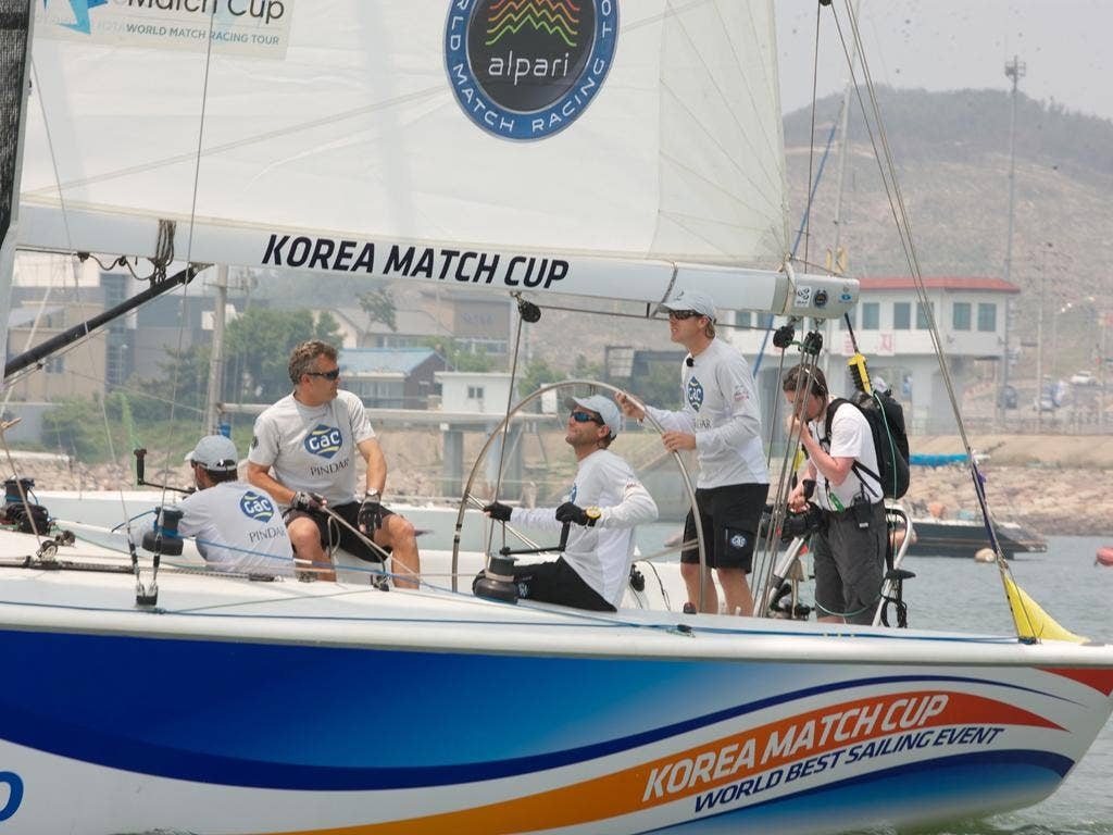 Ian Williams, at the helm, but his GAC Pindar team was pipped into second at the Korean Match Race Cup