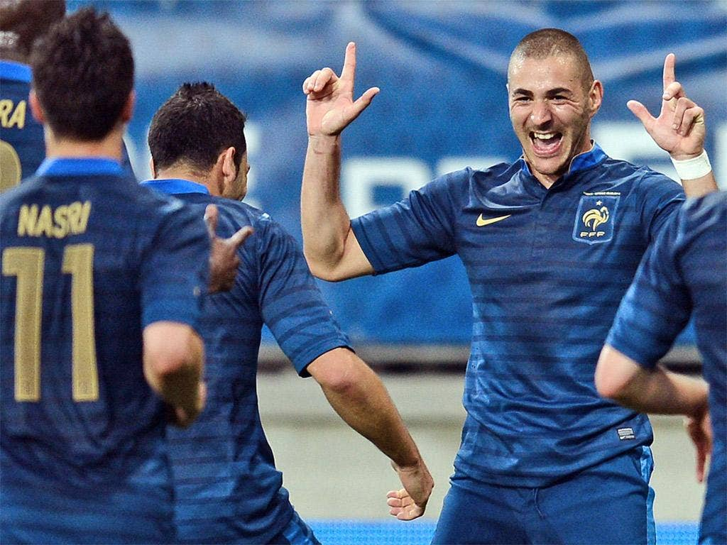 Karim Benzema scored two of France's four goals