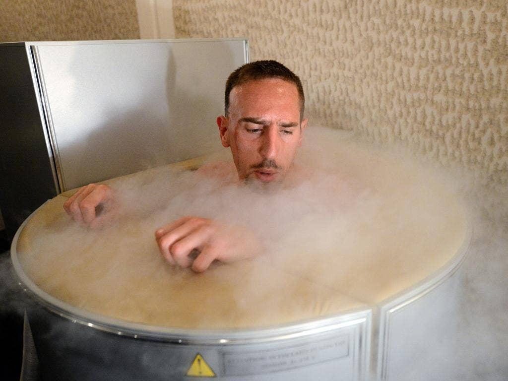 June 7, 2012: France's national soccer team midfielder Franck Ribery is seen in a sauna at the team's training center in Kircha, on the eve of the Euro 2012 football championships opening match on.