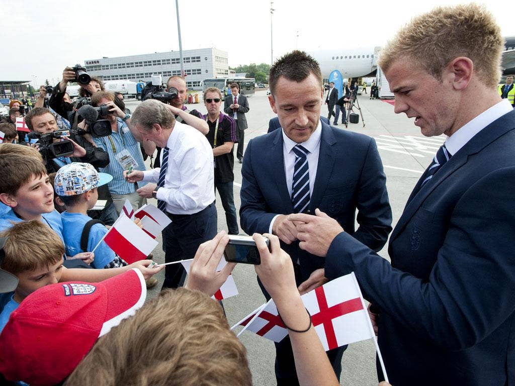 England arrive at Krakow airport
