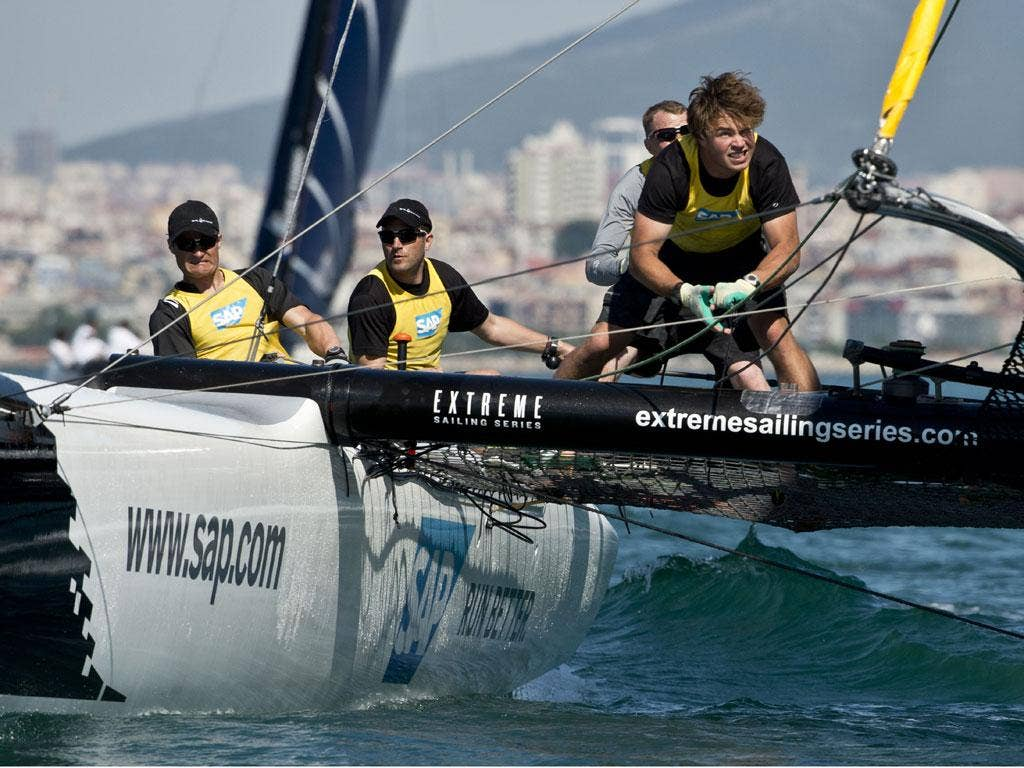 Jens Gram-Hansen (second from left) at the helm of SAP in the Extreme Sailing Series off Istanbul