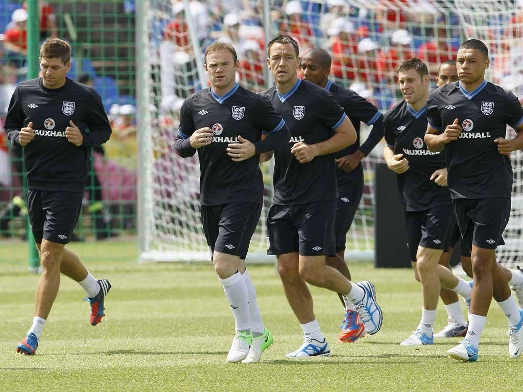 England players train in preparation for their first Euro 2012 match