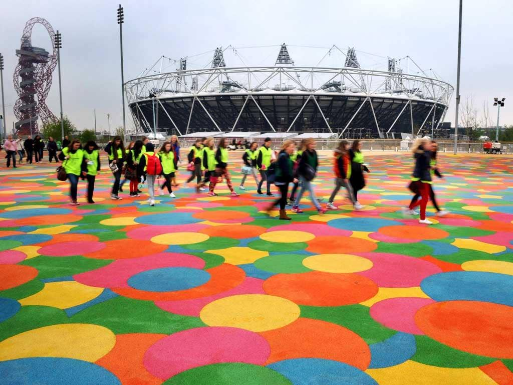The run-up: Spectators arrive for a hockey test event at the Olympic Park, Stratford