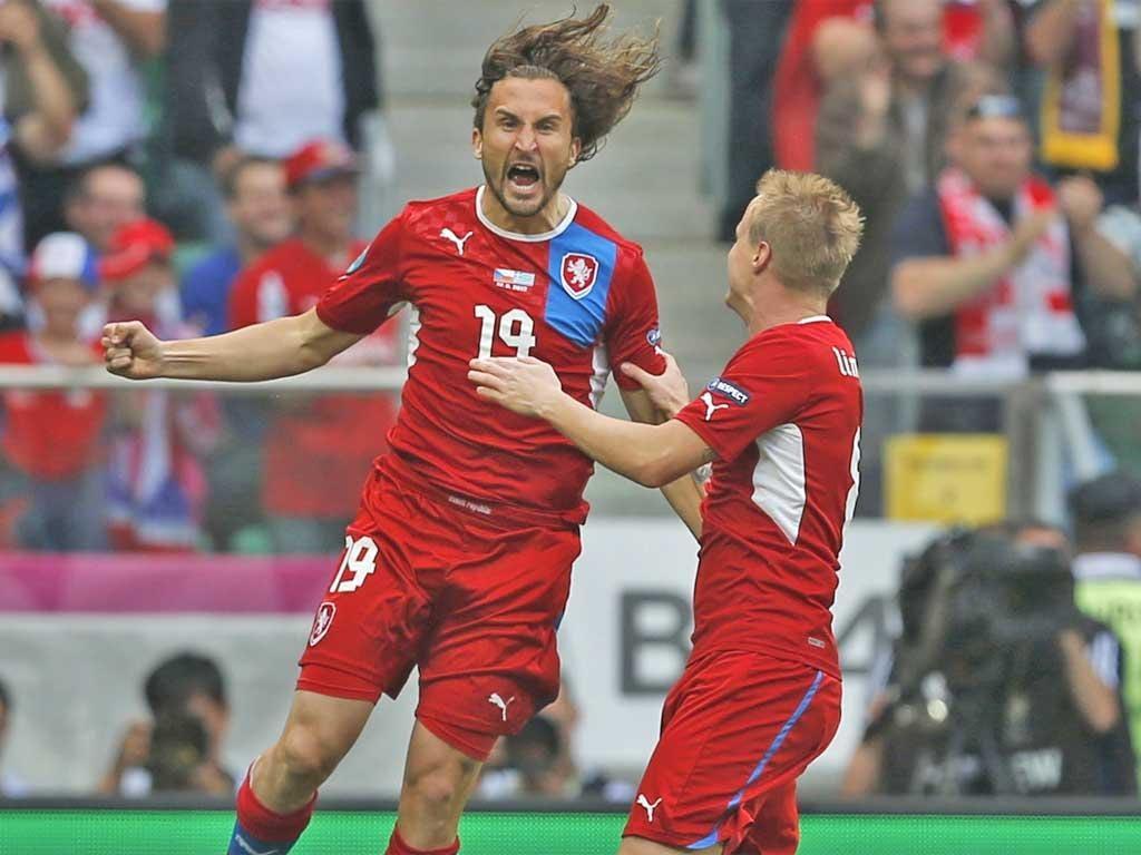 Czech midfielder Petr Jiracek (left) celebrates scoring the first goal