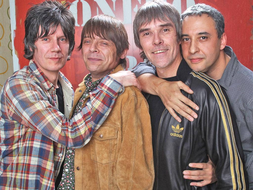 The Stone Roses, including drummer Reni (far right)