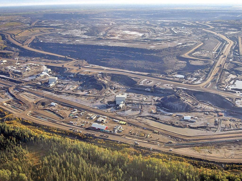 The tar sands mine facility near Fort McMurray, in Alberta, Canada