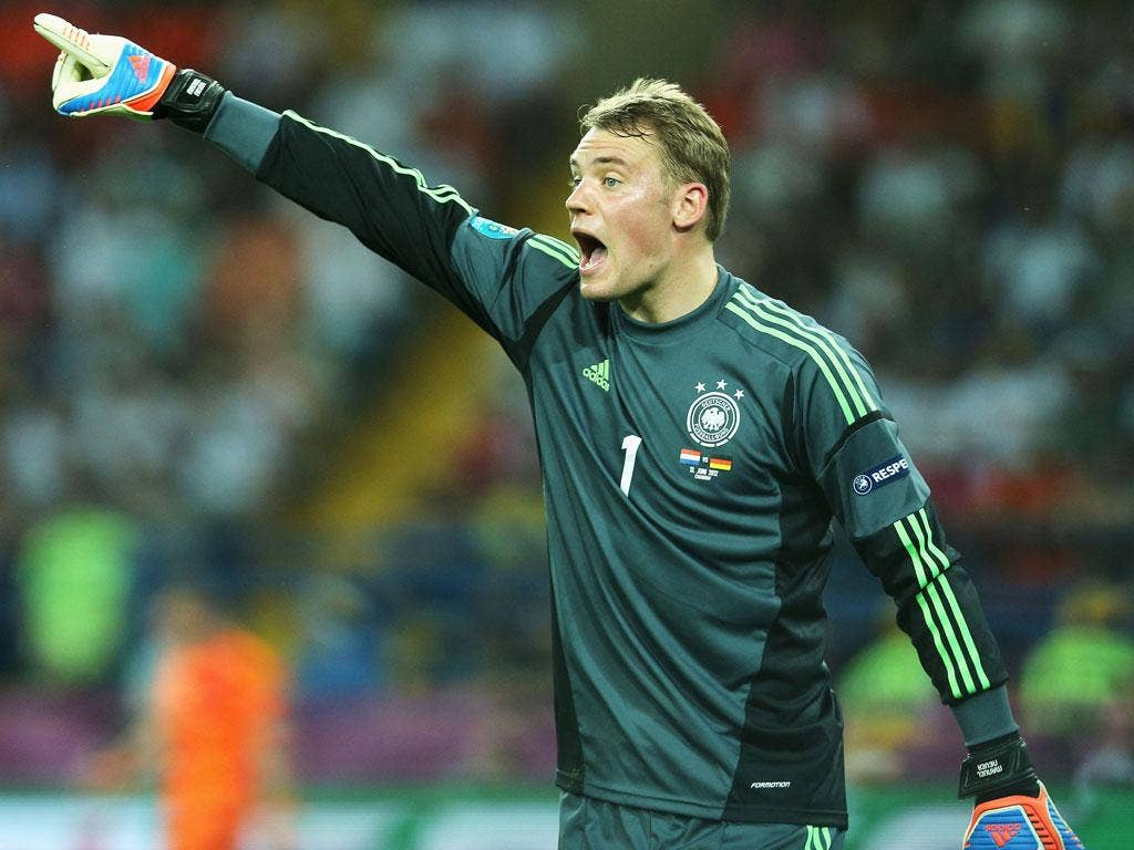 <b>GERMANY</b><br/>   <b>Manuel Neuer: </b> The German number one looked assured when called upon. Beaten only by a fine strike from Robin Van Persie, which went through the legs of one of his defenders. 7