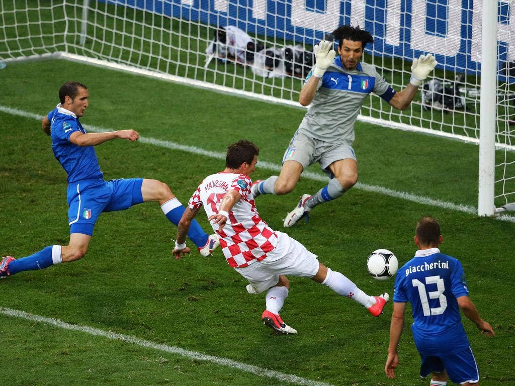 Mario Mandzukic of Croatia scores the opening goal past Gianluigi Buffon of Italy