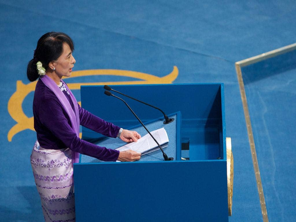 Nobel Laureate Aung San Suu Kyi speaking during the Nobel lecture at Oslo City Hall