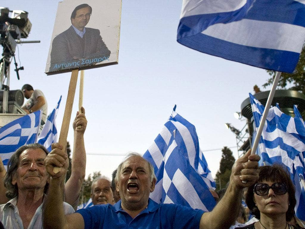Fly the flag: Greeks show their support for New Democracy