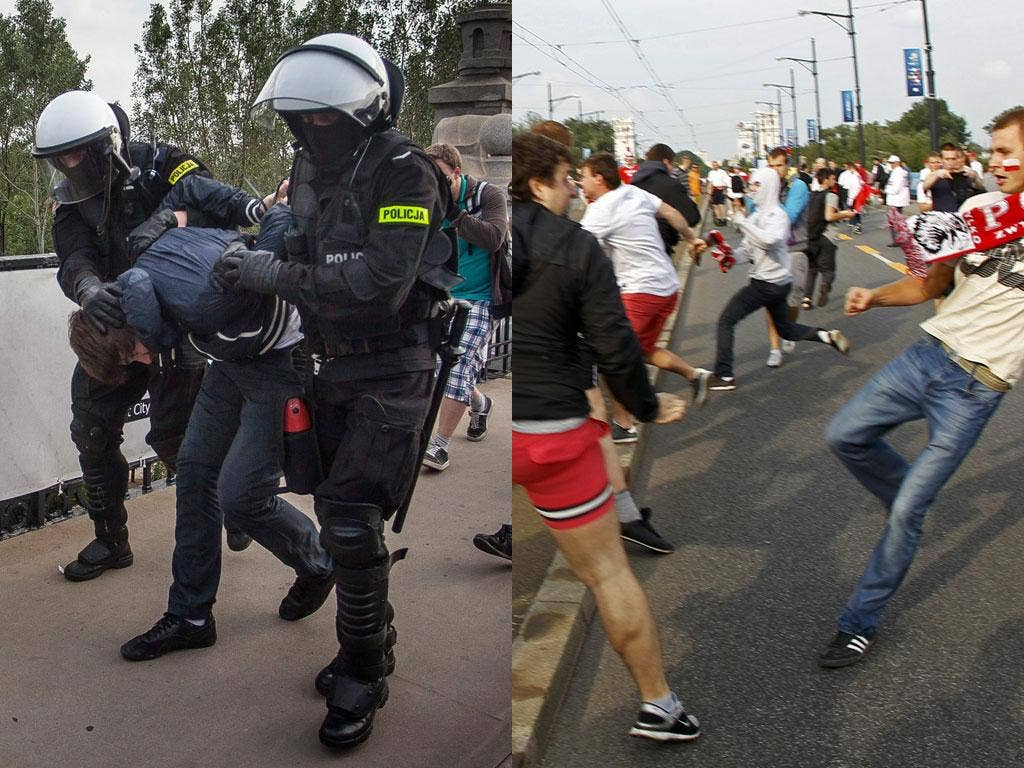 Pre-match kick-off: Police arrest a Polish fan, top, after clashes with Russian supporters ahead of the two countries' Euro 2012 Group A match in Warsaw on Tuesday